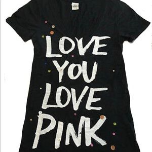 """VS Pink """"Love You Love Pink"""" T-shirt with Sparkles"""